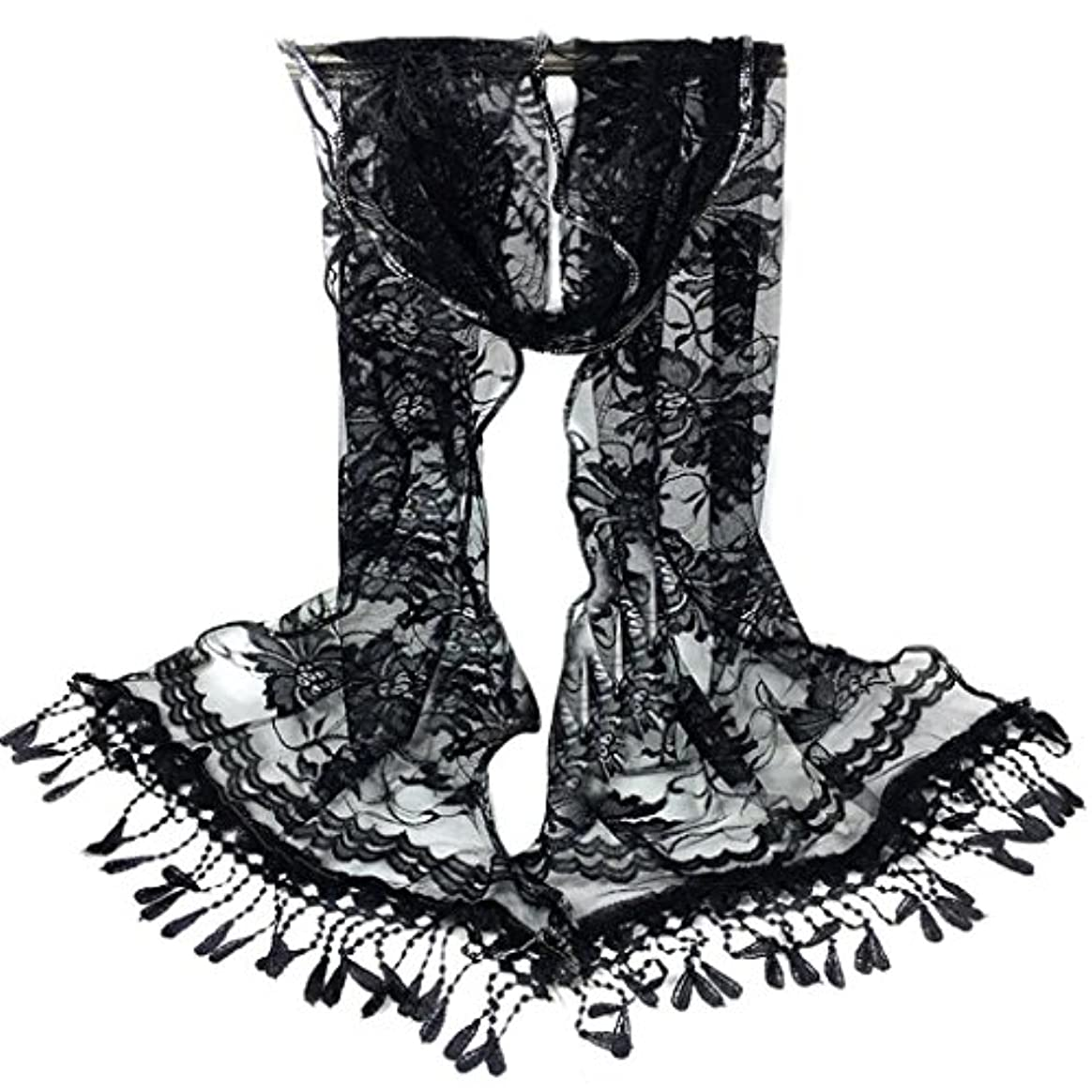 内訳たぶん冒険家[SakuraBest] 女性ロングスカーフタッセルショールフラワーレーススカーフ