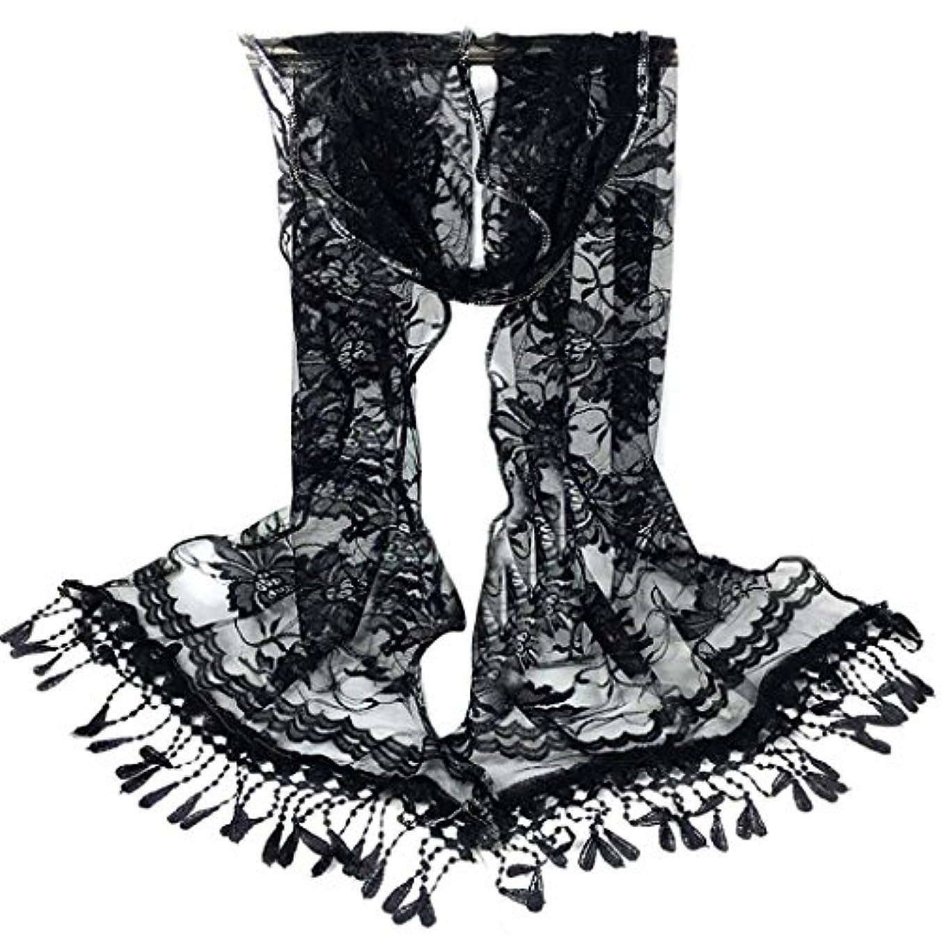 簡潔なバイバイフィードバック[SakuraBest] 女性ロングスカーフタッセルショールフラワーレーススカーフ