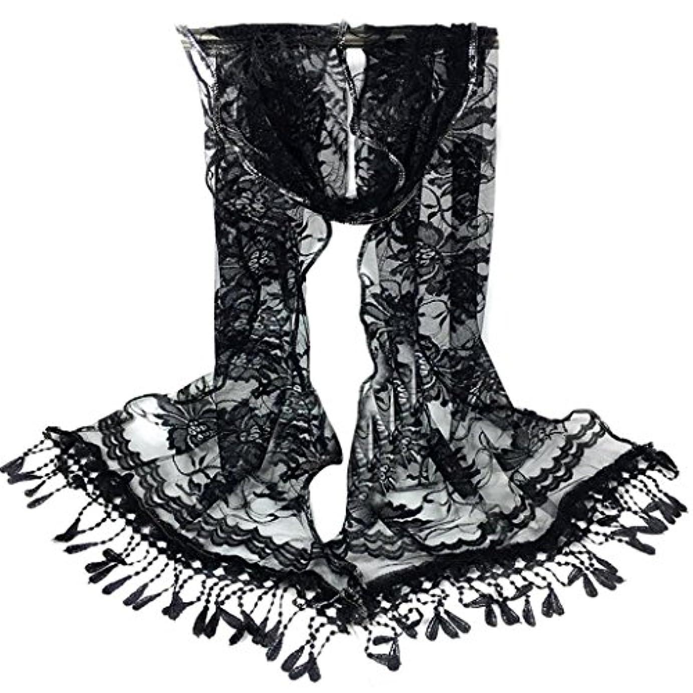 二週間発明予約[SakuraBest] 女性ロングスカーフタッセルショールフラワーレーススカーフ