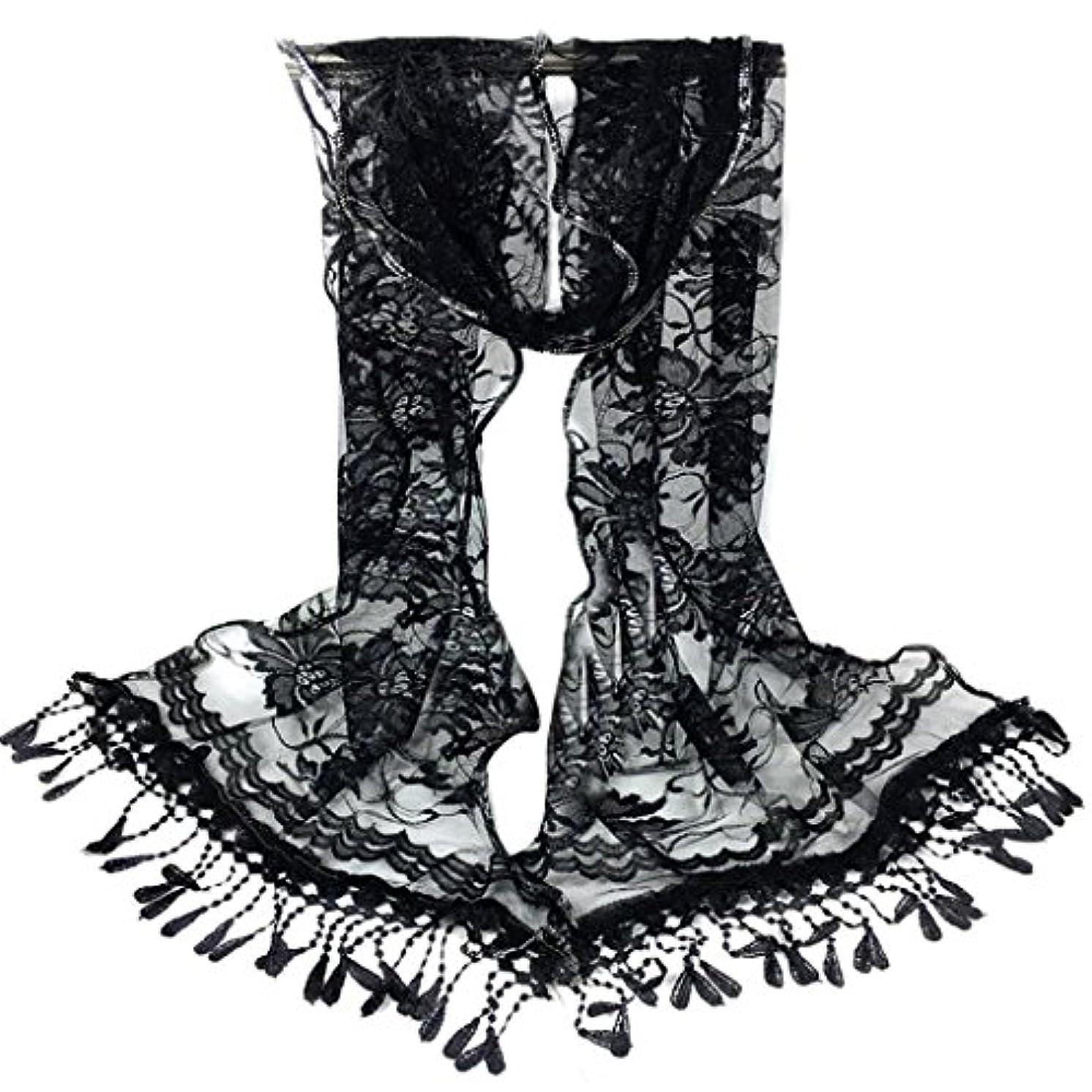 トラップ国対処[SakuraBest] 女性ロングスカーフタッセルショールフラワーレーススカーフ