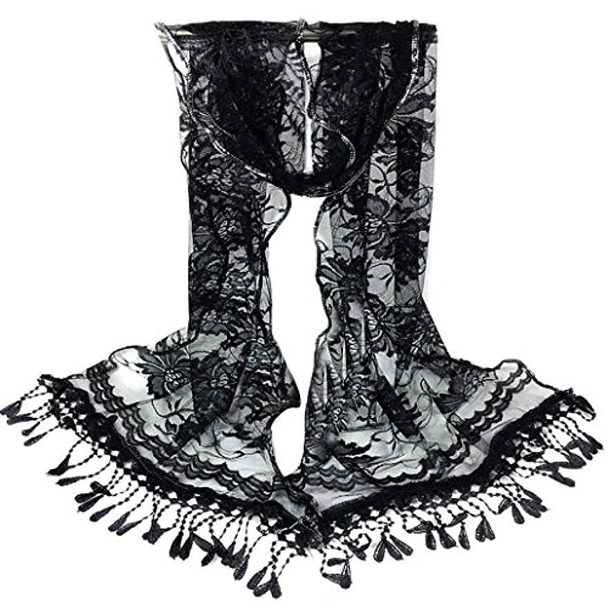 クラウド木材水を飲む[SakuraBest] 女性ロングスカーフタッセルショールフラワーレーススカーフ