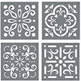 Mexican Tile Stencil Set - Pack of Four Tile Stencil Designs for Painting - Wall or Floor Tile Stencil Designs - for Making M
