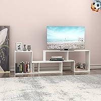 DEVAISE テレビ台 テレビボード テレビラック ローボード AVボード コーナーテレビ台 伸縮テレビ台 2点セット ホワイト 木製 新生活 15mm 4-28