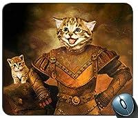ゲームマウスマット、猫ナイトマウスパッドの長方形のカスタマイズマウスパッドのゲームマウスマット