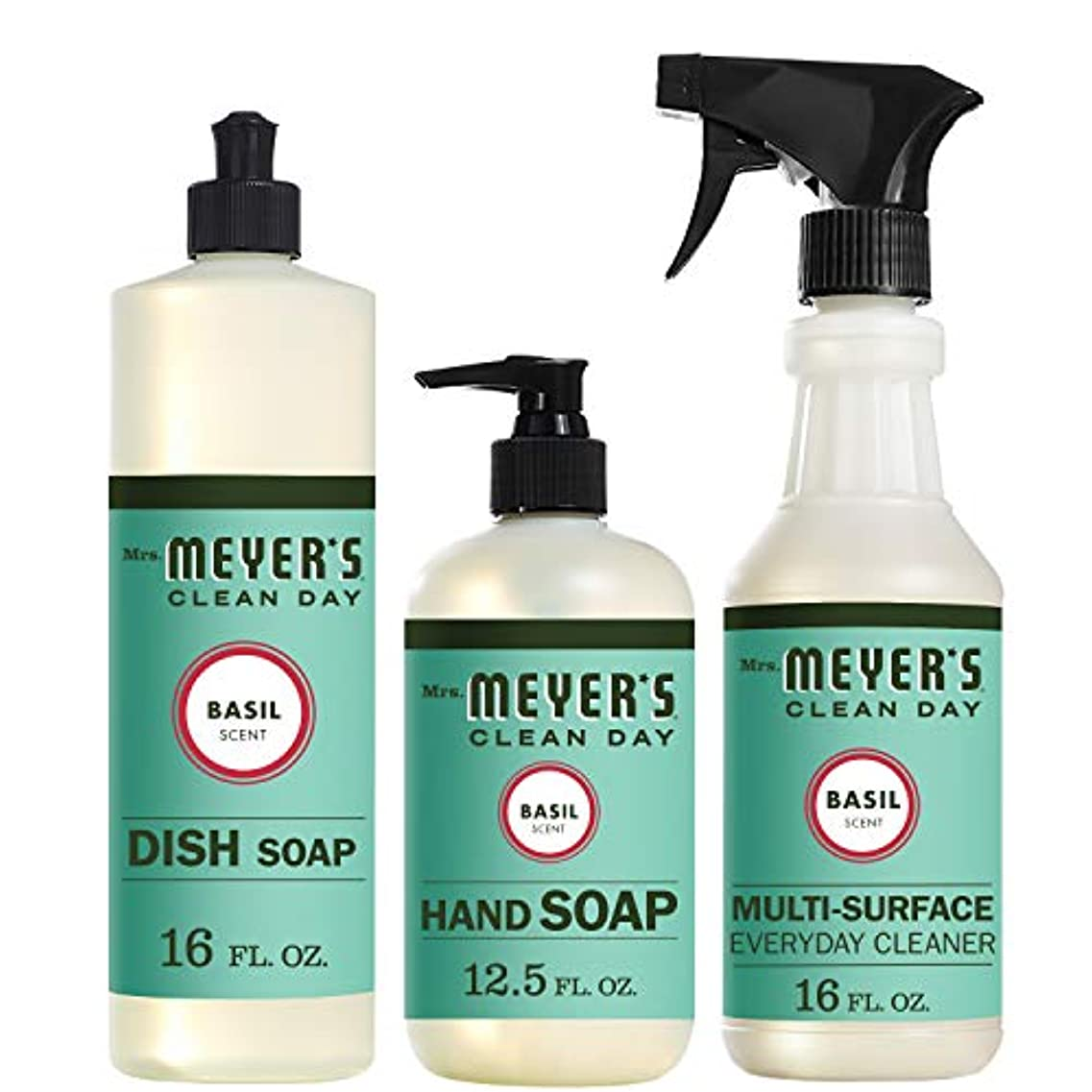 Mrs。Meyers Clean Dayキッチン基本セット、バジル、Includes : Dish Soap (16 fl oz)、Hand Soap (12.5オンス、日常Multi - Surface Cleaner...