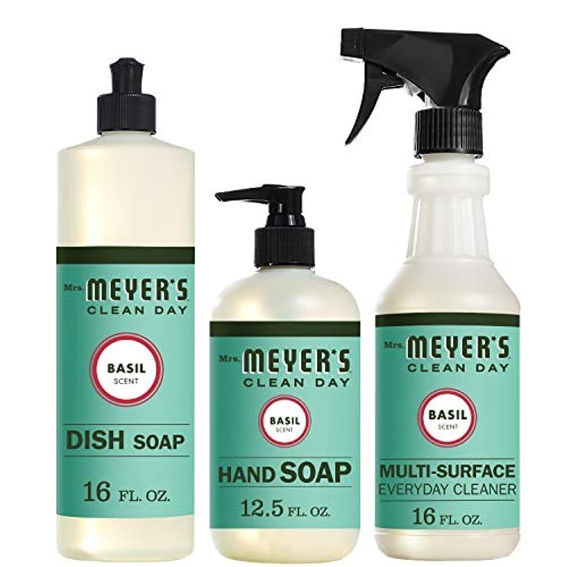 保全東方ジャンクMrs。Meyers Clean Dayキッチン基本セット、バジル、Includes : Dish Soap (16 fl oz)、Hand Soap (12.5オンス、日常Multi - Surface Cleaner...