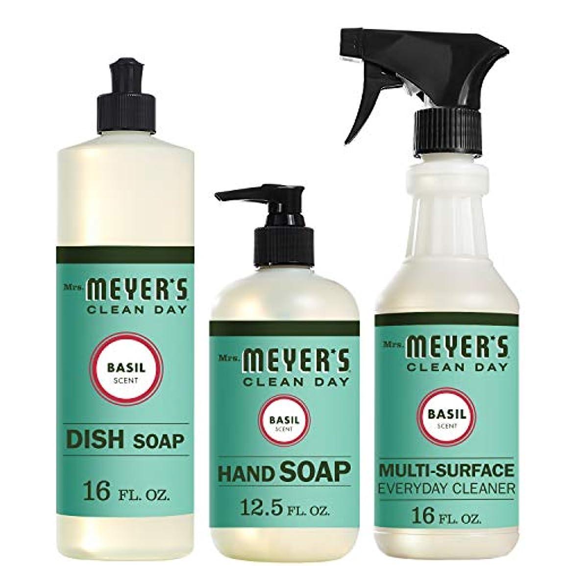 合計熟した派手Mrs。Meyers Clean Dayキッチン基本セット、バジル、Includes : Dish Soap (16 fl oz)、Hand Soap (12.5オンス、日常Multi - Surface Cleaner...