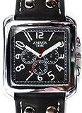 Amazon.co.jpメンズ 腕時計 ウォッチ スクエアフェイス 合皮 合革 ベルト ブラック 黒 黒 見やすい 文字盤[tvs289-men]