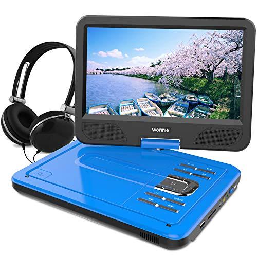 ポータブルDVDプレーヤー 10.5型 高画質液晶 DVDプレイヤー リージョンフリー 大容量 4時間持続 超軽量で持ち運びやすい 動作音も静か (ブルー)