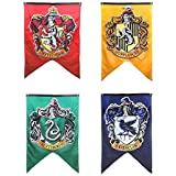 """Harry Potter Complete Hogwarts House Wall Banners, Ultra Premium Double Layered Indoor Outdoor Party Flag - Gryffindor, Slytherin, Hufflepuff, Ravenclaw - 30""""X 50"""" (4PACK)"""