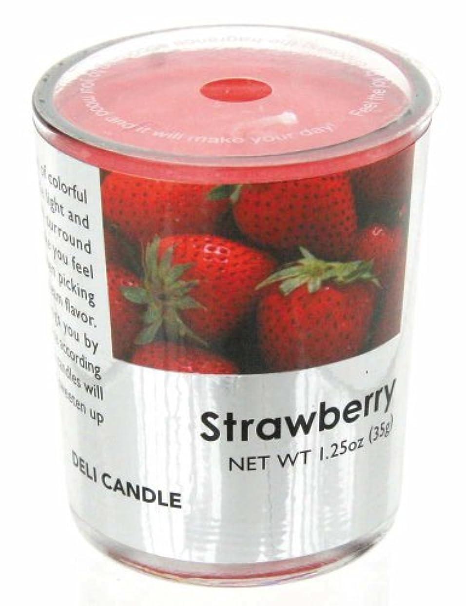 どこかクラウン自然デリキャンドル ストロベリー 35g(フルーツの香りのろうそく 燃焼時間約10時間)
