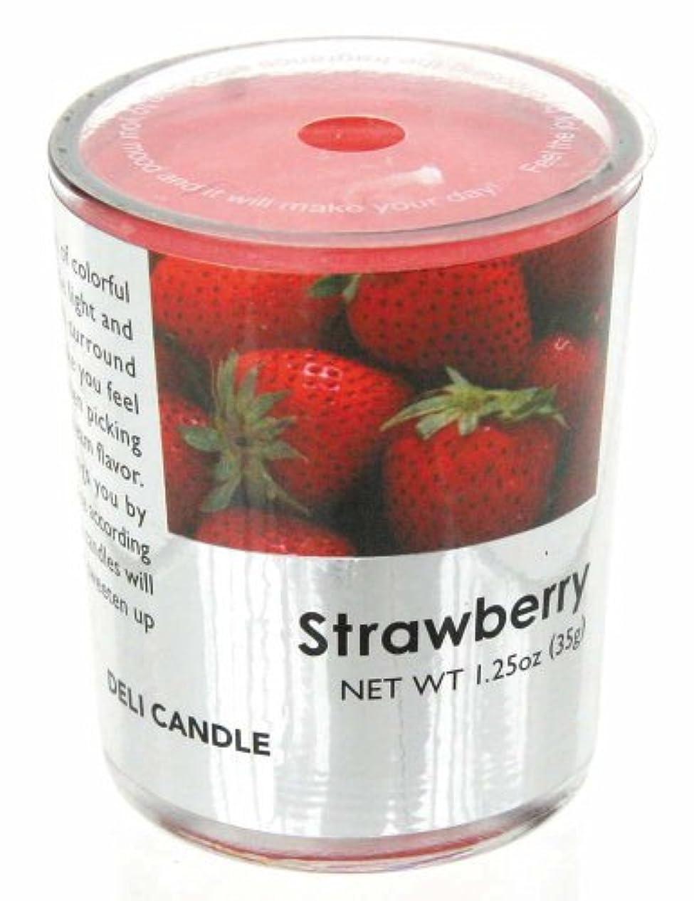 宗教最小化するひもデリキャンドル ストロベリー 35g(フルーツの香りのろうそく 燃焼時間約10時間)