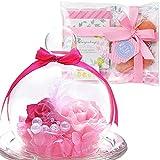 【Amazon.co.jp 限定】 TEATSIGHT フラワーギフト セット プリザーブドフラワー クッキー 紅茶 ラッピング済み 2輪 バラ ピンク