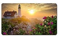 灯台、朝、岩、花、日の出 パターンカスタムの マウスパッド 旅行 風景 景色 デスクマット 大 (60cmx35cm)