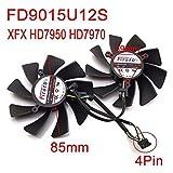 XFX HD7950 HD7970用 グラフィックカードクーラー 交換チップファン VGAクーラー FD9015U12S DC12V 0.55A 4Pin