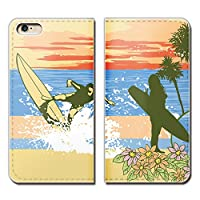 (ティアラ) Tiara Xperia XZ2 SOV37 スマホケース 手帳型 ベルトなし サーフィン ボード SURF 海 手帳ケース カバー バンドなし マグネット式 バンドレス EB169020101501