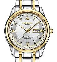 メンズサファイア自動巻き機械式ゴールドウォッチ ステンレススチール 防水 夜光腕時計