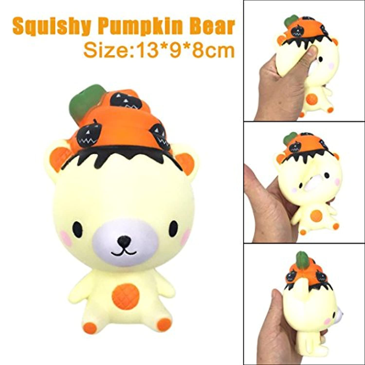 Rosiest低価格Kawaiiカット13 cm Squishy Poo Pumpkin Bear Relieve Anxiet Squeeze Slow Rising楽しいおもちゃギフトSquishボールAnxietyレリーフ
