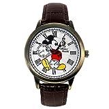 ディズニー 腕時計 スワロフスキー 腕時計 ブラウン シリアルナンバー入 ミッキー 腕時計メンズ ミッキーマウス ウォッチ メンズ レディース 世界限定品 クロノグラフ モデル ディズニー 本革 ヴィンテージ WATCH Disney 手が回る 時計 キャラクター ウオッチ (本革ブラウン) [並行輸入品]