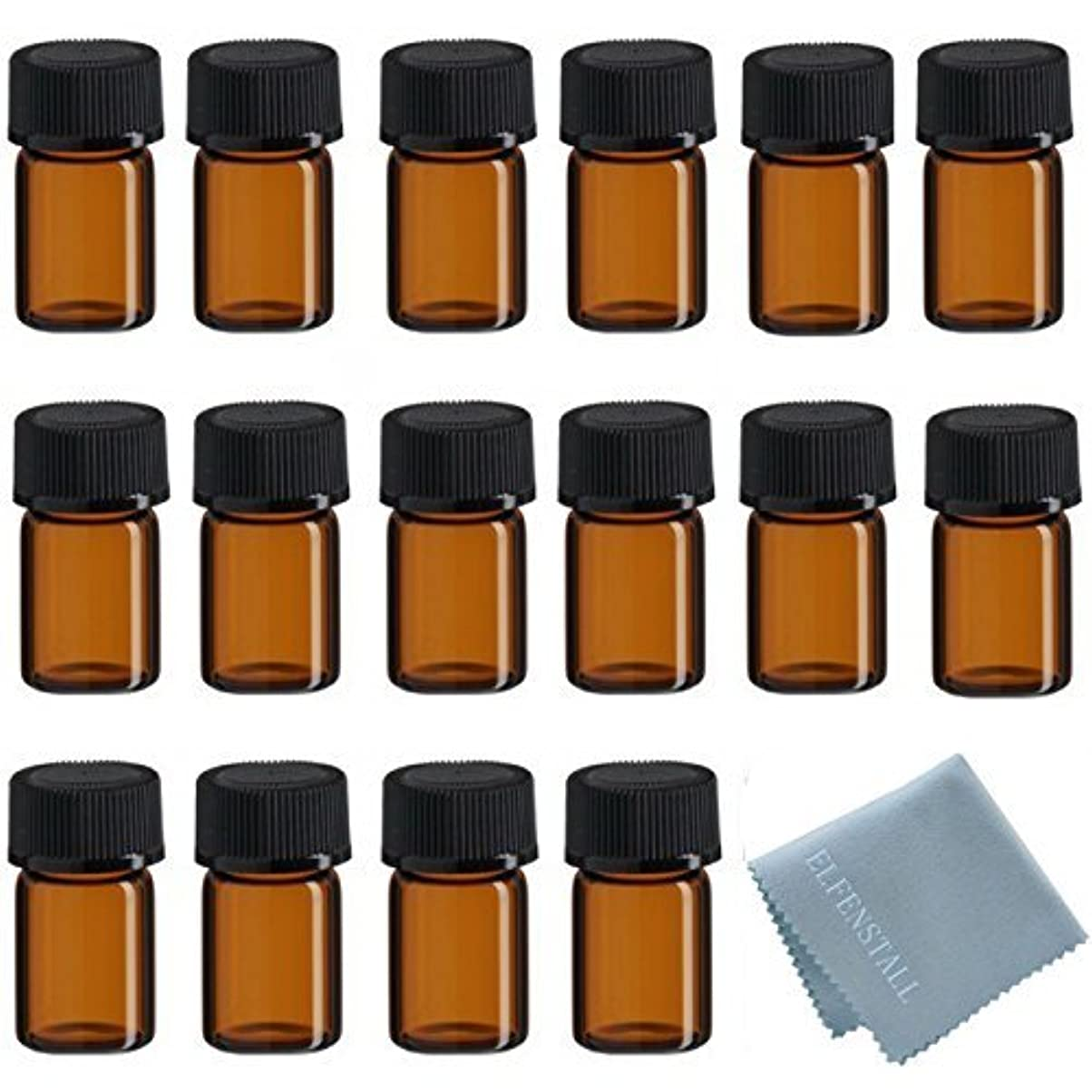 禁輸高さカンガルーELFENSTALL 50Pcs 2ml Oil Bottles for Essential Oils (5/8 Dram) Amber Glass Vials Bottles, with Orifice Reducers...