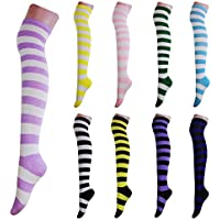 ZITA ELEMENT Women's 2 Pairs Long Striped Thigh High Socks Casual Over Knee Cotton Stockings