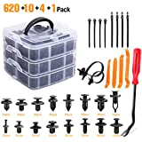 GOOACC GRC-86 635Pcs Car Push Retainer Clips & Auto Assortment-16 Most Popular Sizes Nylon Bumper Fender Rivets with 10 Cable Ties and Fasteners Remover for Toyota GM Ford Honda Acura Chrysler