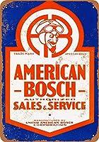 Shimaier 壁の装飾 ブリキ 看板メタルサイン American Bosch Sales and Service ウォールアート バー カフェ 30×40cm ヴィンテージ風 メタルプレート