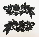 ケミカルモチーフ レースモチーフ 黒(MT-z038) 花 ハンドメイド 装飾 資材 材料 (1対)