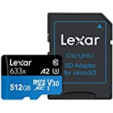 Lexar 100MB/s 633x MicroSDXC 512GB with adapter UHS-1 U3 V30 A2(512GB)