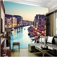 LJJLM カスタム大規模な壁画ヴェネツィア美しい夜景3D都市背景壁壁紙壁紙用壁-420X280cm