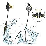 OKCSC U5 PLUS Bluetoothイヤホン V4.1 ワイヤレス ヘッドフォン ステレオ ノイズキャン IPX7防水 ランニングヘッドセット マイク内蔵(黒色)