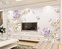 Minyose 真珠のチューリップ写真の壁紙の壁3Dの壁紙3Dの壁画アートクリエイティブリビングルームホテルの3D壁紙-200cmx140cm