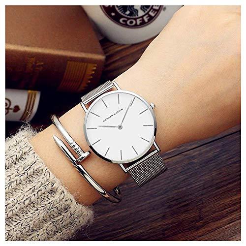 レディース 腕時計 Hannah Martin おしゃれ クラシック シンプル 女性 時計 ビジネス クォーツ watch for women (シルバー)