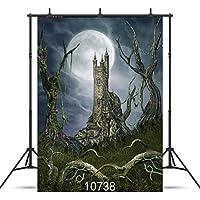 sjoloon Scary Forest Halloween Night Backdrop 5x 7ftビニール写真カスタマイズ写真背景Studio Prop 10738
