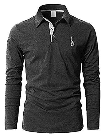 ポロシャツ 長袖 メンズ  ゴルフウェア スポーツウェア  グラストア(Glestore) S-XL (XL, 19.グレー)