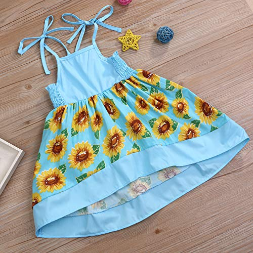 YOUNGER TREE Toddler Baby Girl Halter Sunflower Printed Princess Dress Summer Outfits Kids Clothing - Blue - 18-24 Months