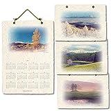 2019 壁掛け カレンダー 高原の四季 手漉き 和紙 30x21cm 風景和紙x3枚 カレンダー和紙x1枚 日本 山 風景 写真 絵画 絵 暦