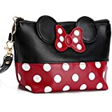 Cartoon Leather Travel Makeup Handbag, Cute Portable Cosmetic bag Toiletry Pouch for Women Teen Girls Kids (Black)