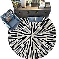 JIAJUAN ラウンドカーペット 円形 範囲 ラグ 幾何学的な 設計 滑り止め お手入れが簡単 じゅうたん 床 マット ために リビングルーム ベッドルーム、 6スタイル (Color : E, Size : 120cm)