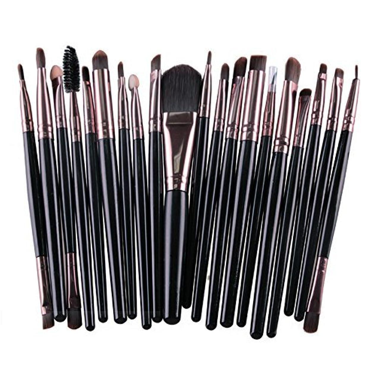 軽く感染する藤色メイクブラシ 20種類セット 20本入り メイク筆 化粧筆 チップ 美容 化粧品 TEC-MAG5165D (ブラック)