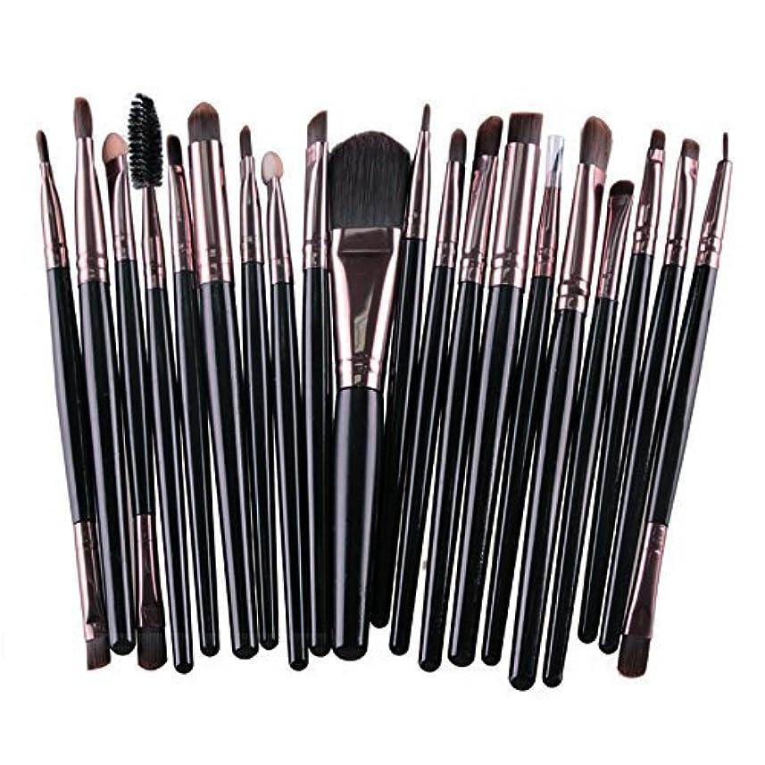 不運逆に組み立てるメイクブラシ 20種類セット 20本入り メイク筆 化粧筆 チップ 美容 化粧品 TEC-MAG5165D (ブラック)