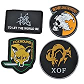 【RyoSuke】4種セット MGS メタルギア風 ワッペン ピースウォーカーMILITAIRES SANS FRONTIERES FOXHOUND フォックスハウンド TO LET THE WORLD TO BE 魂 XOF ミリタリー コスプレ サバイバルゲーム 収納用巾着袋付!