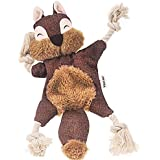 Durable Dog Toys for Aggressive Chewer Squeak, Indestructible Dog Toys Tough Dog Squeaky Toys No Stuffing Crinkle Dog Toy, Rope Knots Puppy Chew Toys Sturdy Squirrel Dog Toy Interactive Dog Chew Toys