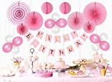 Mainiusi 風船 誕生日 飾り付け バルーン セット 女の子 バースデー お祝い 装飾 HAPPY BIRTHDAY ガーランド 特大 ペーパーファン ハニカムボール パーティー デコレーション キット29個 (ピンク)