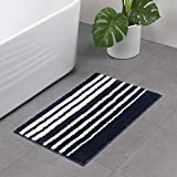 Fringe Microfiber Velvet Bath Rugs, Anyshock Softer Non Skid Absorbent Bath Mat 20x31 Inch Navy Blue Small Carpet for Shower Bathroom Door Hallway Entry Dorm Indoor Outdoor (20x31 inch)