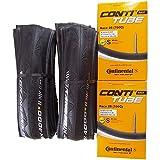 タイヤとチューブ2本セット Continental(コンチネンタル) GRAND PRIX 4000 S II グランプリ4000S2 エコパッケージ ( (23C+チューブ(race28) 仏式60mm )) [並行輸入品]