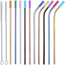 """Colored Stainless Steel Straws with Silicone Tips, 10.5"""" Long Reusable Metal Straws for 20 30 OZ Yeti Tumbler, RTIC, Tervis, Starbucks, Mason Jar, Set of 10 with Cleaning Brush"""