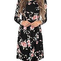 cooholeレディースセクシーファッション花柄カジュアル長袖イブニングパーティー膝丈ドレス