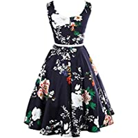 (M, Navy) - IEason Women Vintage Floral Bodycon Sleeveless Casual Evening Party Prom Swing Dress (M, Navy)