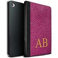 stuff4PU Book /カバーケースfor Apple iPad Mini 4タブレット/オリーブブラックモノグラム/カスタムレザー効果 MR-IPM4-TSBS-MD-LTHRDIY-PKM